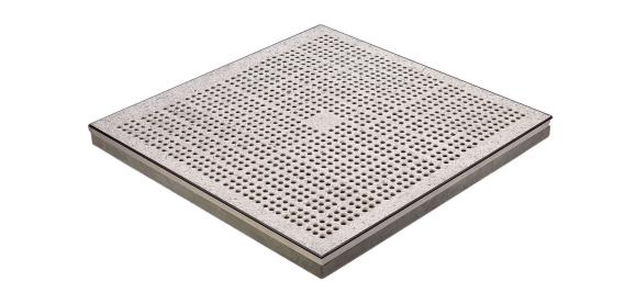 En perforerad platta som kan användas i en konfiguration av upphöjda golv.